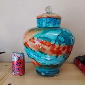 "Lot #MW34 - Large GLASS 14"" Reverse Drip Glaze Painted Lidded Vase"