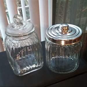 Lot #HW37 - Two Countertop  Glass Jars