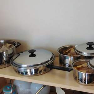 Lot #MW42 - 7 Pc Set of Clean, Vintage ECKO Butterfly Pattern Cookware Heavy Duty AWESOME!