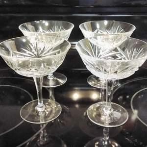"""Lot #MW44 - Set of 12 Nachtmann Crystal NIERSTEIN 4 5/8"""" Champagne Sherbets CHERRYWOOD Gorham"""