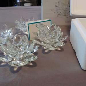 Lot #MW45 -  Stunning Faceted Crystal Lotus Candle Holders 2 Large NIB and 2 smaller ones used