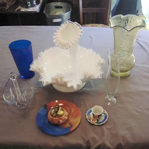 Lot # MW63 - Vintage Fenton with One Horn, Lighter, Crackle Vase, Swan and more!