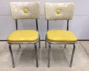 Lot #EL65 - Pair of Yellow Ice Pattern 1950's Dinette Chairs Great Condition!