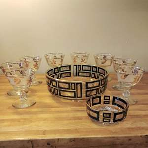 Lot #EL72 - 10 pc Vintage MCM Lot of Party Service Glassware
