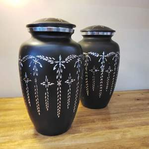 Lot #EL79 - A Pair of Black Etched Aluminum Canisters with Screw On Lids