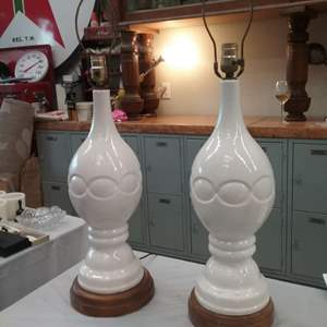 Lot #EL82 -  A Pair of Vintage White Table Lamps WORKING!