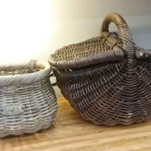 Lot #EL88 - Pair of Vintage Wicker Baskets