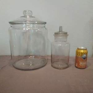 Lot #HW96 - Giant Blown Glass Countertop Jar and another Antique Jar