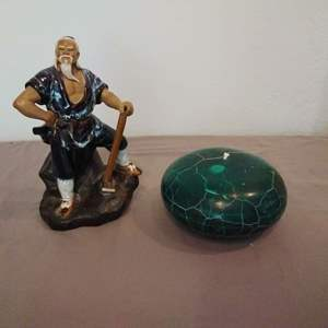 Lot #MW98 - Asian Man Figure with Axe and Large Turquoise Look Candle