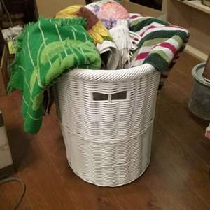 Lot #HW104 - White Wicker Hamper Basket & Vintage Towels