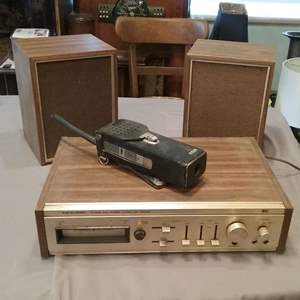 Lot #MW108 - Realistic 8-Track Tape Player and Hand Held Commo Radio