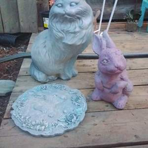Lot #MW110 - Large Concrete Cat and a Chunky Bunny Yard Art