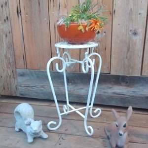 Lot #MW113 - Metal Little White Plant Stand & Concrete Bunny, a Fawn and a Plant!