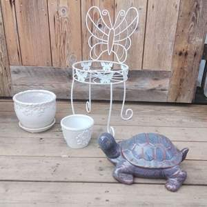 Lot #MW114 - Nice White Butterfly Planter Stand, Turtle Decor and Pots