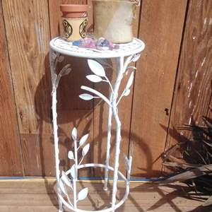 """Lot #MW115 - Nice White Metal Plant Stand and Pots 30"""" Tall"""