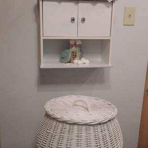 Lot #HW116 - Large Lidded Snake Charmers Basket, Wall Cabinet and Bath Items