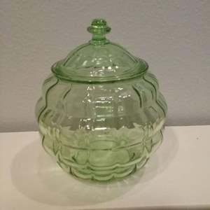 Lot #LH127 -Anchor Hockings Block Optic Green Depression Lidded  Candy Jar