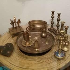 Lot #MW148 - Large Brass Lot of 15 pc plus one Jeweled Metal Broken Heart