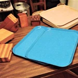 Lot #HW152 - 14 Pc Lot Cafeteria Trays, Cutting Blocks, and Knife Blocks