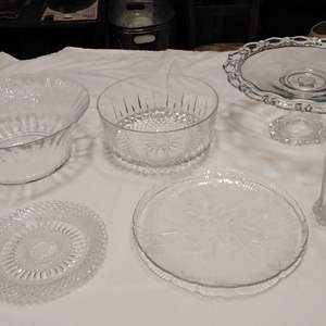 Lot # MW153 - Crystal Lot of Serving Ware w Pedestal Cake Plate
