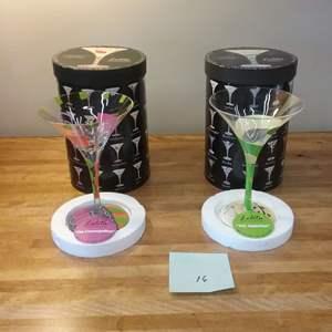 Lot # EL157 - A Pair of LOLITA Collectible Recipe Martini Glasses