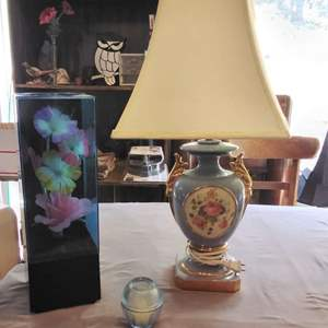 Lot #MW167 - Fiber Optic Light and Table Lamp with Small Candle in Holder