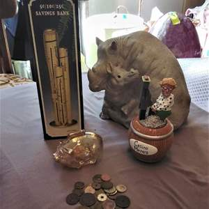 Lot # HW171 - Banks and Foreign Coins Large Hippo, Small Piggy and more