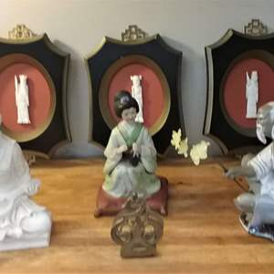Lot #EL187 - Asian Wall Hangings and Figures