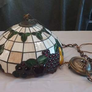 Lot #EL192 - Stained Glass Style Swag Lamp