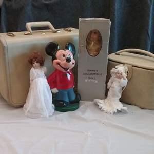 Lot #EL194 - Vintage Doll and Luggage Lot