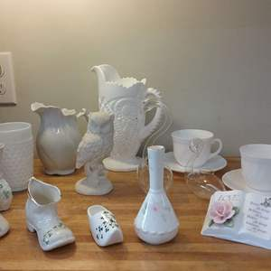 Lot #EL198 - Great Lot of White and Milkglass Pieces including Belleek