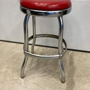 Lot #EL306-Vintage Chrome Stool with Red Seat