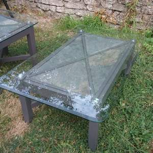 Lot # LH314- Matching Slate and Glass Coffee Table and End Table