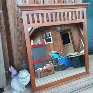 Lot # LH317- Oak Mission Style Mirror