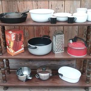 Lot #MW332 - Large Lot of Misc Kitchen Items with Cast Iron Pans  Vintage and NEW in Box Items Too!