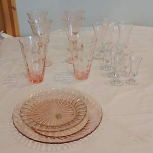 Lot #LH335 - Vintage Pink Glass Dishes and other Glass Items