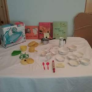 Lot #LH337- Children Collectible Kitchen Items(Chilton and Creative Playthings) and 1st Edition Library books