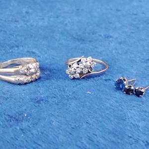 Lot #MW342 - 14K Gold & Diamond Scrap and Blue Sapphire Earrings