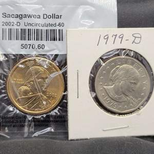 Lot 8 - Two UNC Dollars: 1979-D Susan B Anthony and 2002-D Sacagawea