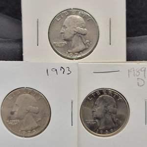 Lot 22 - Three UNC Washington Quarter Dollars, 1971-D, 1973, 1989