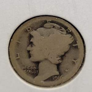 """Lot 26 - 1916-S SILVER Winged Liberty """"Mercury"""" Dime"""
