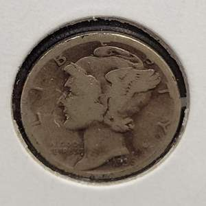 """Lot 28 - 1936-S SILVER Winged Liberty """"Mercury"""" Dime"""