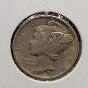 """Lot 29 - 1941-S SILVER Winged Liberty """"Mercury"""" Dime"""