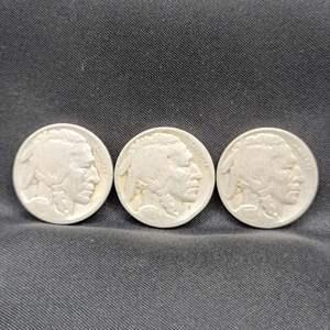 Lot 34 - Three Buffalo Nickels, 1920's
