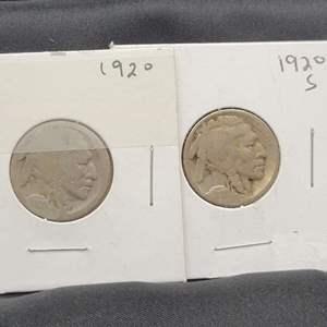 Lot 35 - Two Buffalo Nickels, 1920, 1920-S