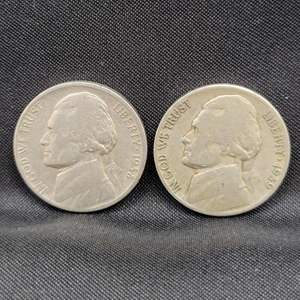 Lot 39 - KEY DATE 1938 and 1939 Jefferson Nickels