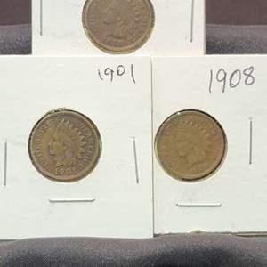 Lot 44 - Three Indian Head Cents, 1898, 1901, 1908