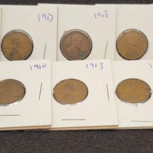 Lot 45 - 1909 FIRST YEAR OF ISSUE with Nine more Teens Lincoln Wheat Cents, 1909-1919-S, no duplicates