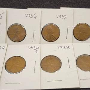 Lot 47 - Ten Lincoln Wheat Cents, 1930-1939, no duplicates