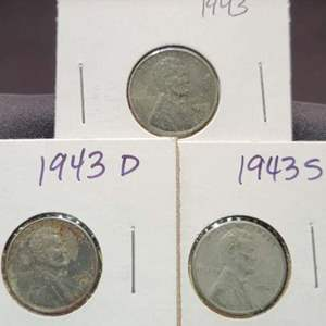 Lot 48 - 1943 P, D & S Lincoln STEEL Cents, WWII Era